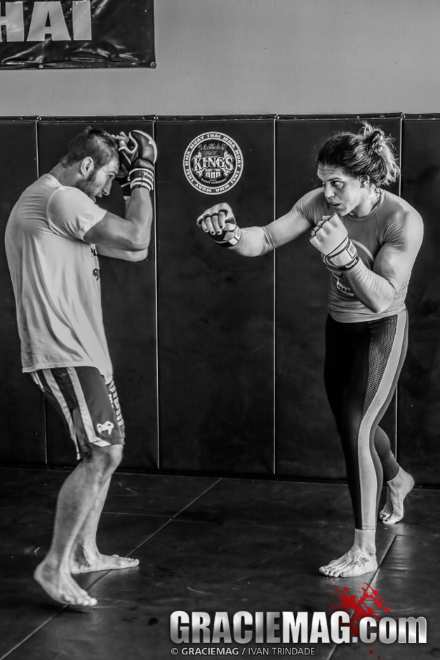 Gabi practicing her striking at Kings MMA
