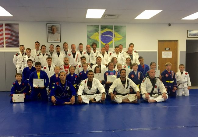 Cesar Pereira teaches seminar and promotes student to first degree black belt
