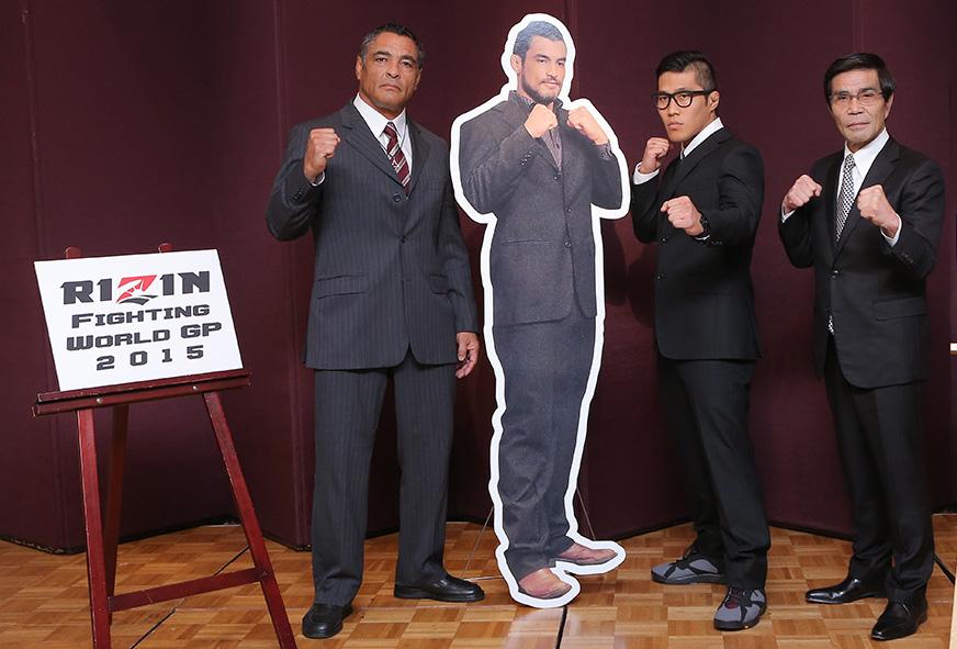 Rickson foi ao Japao anunciar a luta do filho Foto Rizin
