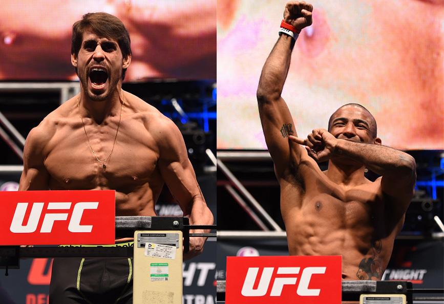 Cara de Sapato e Serginho Moraes em fotos de Josh Hedges/Zuffa LLC/Zuffa LLC via Getty Images