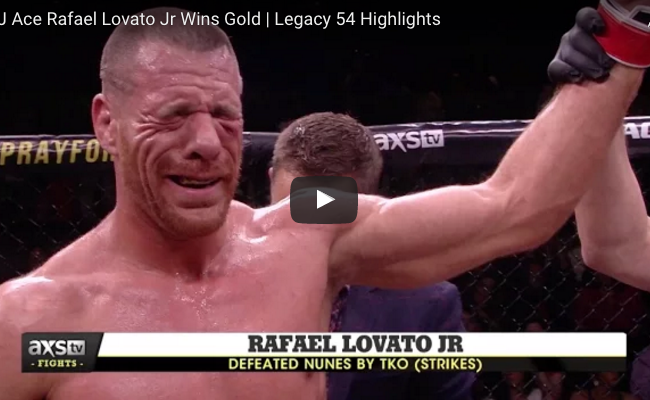Black belt world champion Rafael Lovato Jr. claims Legacy FC middleweight belt; watch highligths video