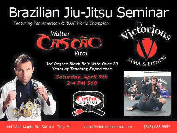 Catch a class with Walter Cascão in Troy, Michigan, this Saturday