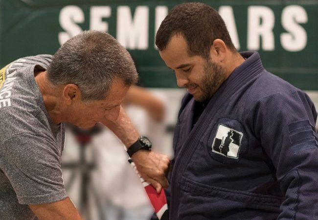 "Leo Vieira receives his 5th degree BJJ black belt from Master Romero ""Jacaré"""