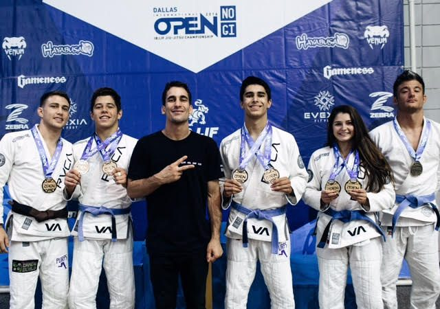 Gui Mendes celebrates AOJ's double gold at the Dallas Open Jiu-Jitsu
