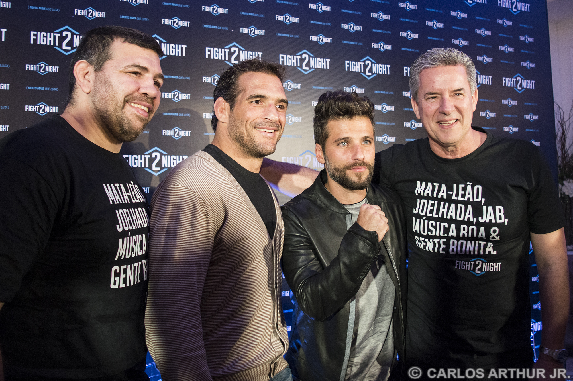 Pedro Rizzo, Léo Leite, Bruno Gagliasso e Roberto Baldaconni no lançamento do Fight2Nite. Foto: Carlos Arthur Jr.