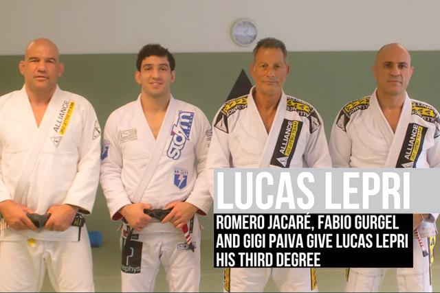 Lucas Lepri gets third degree on BJJ black belt
