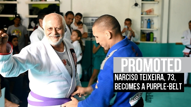 Fighter promoted to purple belt at 73