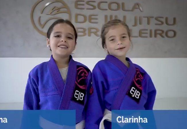 """A """"aulinha"""" de queda das pequeninas Tina e Clarinha, da Escola de Jiu-Jitsu Brasileiro"""