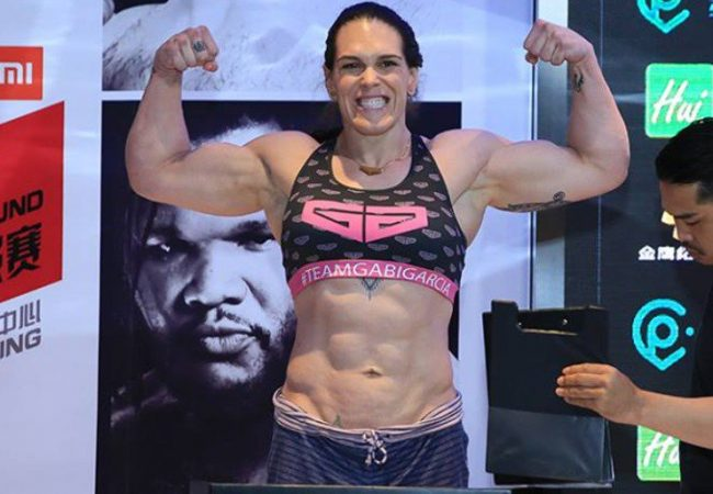 Full fight: Gabi Garcia uses an RNC in her debut in Road FC