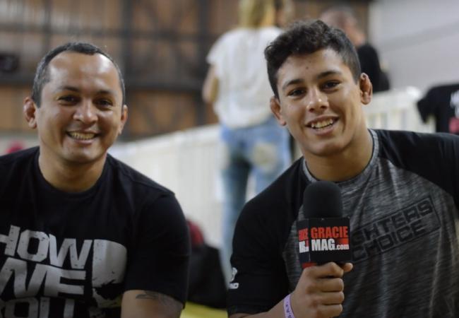 Mica entrevista Melqui Galvão nos bastidores do Brasileiro da FCJJP
